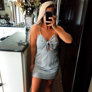 Grey and white striped front tie mini dress